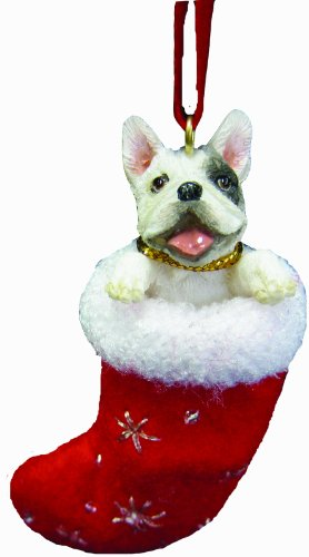 French Bull Dog Christmas Stocking Ornament with 'Santa's Little Pals' Hand Painted and Stitched Detail
