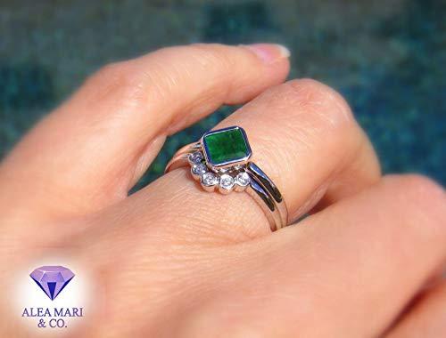 Amazon Com Emerald Engagement Ring Diamond Wedding Band Bridal Set 14kt Unique Wedding Ring Emerald Ring Diamond Ring Handmade