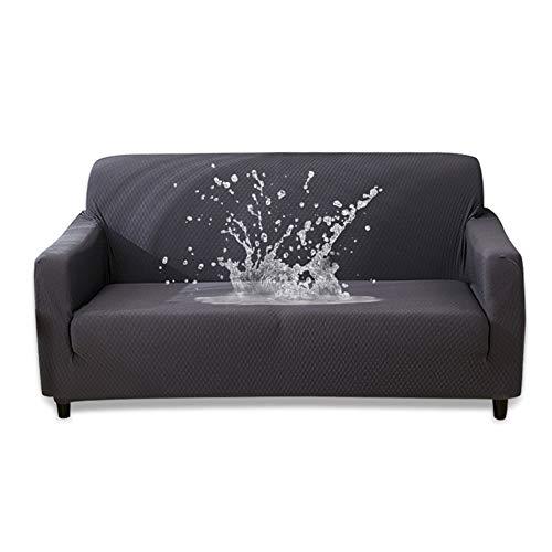 HOTNIU Wasserdichtes Stretch Sofa Schonbezug - 1-Piece Dehnbarer Stoff Couch Cover - Beflockt Muster Ausgestattet Couch Schonbezug (3-Sitzer, Grau)