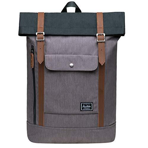 KAUKKO Rucksack Damen mit Laptopfach für 12 Zoll Laptop, Herren Business Daypack mit Seitlicher Reißverschluss zum Öffnen des Hauptfachs 18.3 L Hellgrau mit Schwarz