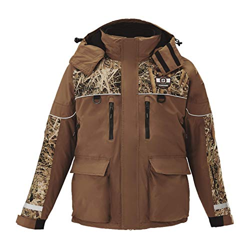 Striker Ice Men's Fishing Waterproof Cold Weather Climate Jacket, Brown/Camo, XL