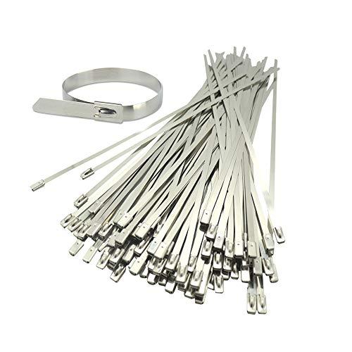 Bridas para cables de acero inoxidable Bridas para cables Bridas para cables de metal Bridas para cables de acero inoxidable de alta resistencia Bridas con cremallera de 300 mm x 4,6 mm (100)