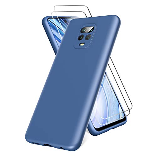 All Do Funda para Xiaomi Redmi Note 9S/9 Pro, Protector Pantalla Cristal Templado, Carcasa de Silicona Líquida Gel Ultra Suave Funda con tapete de Microfibra Anti-Rasguño - Azul