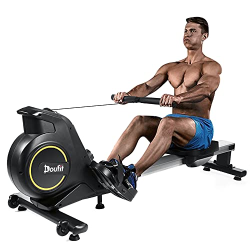 find the best rowing machine for 2021 Rowing Machines for Home Use Foldable, Doufit RM-01 Magnetic Row Machine Exercise Equipment with Aluminum Rail, Transport Wheels, LCD Monitor & 8 Resistance Settings
