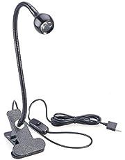 LEDMOMO Clip Lamp Clip Op LED Leeslicht voor Studeren/Werken/Slapen met Clip en Aan/Uit Schakelaar Wit Licht (Zwart)