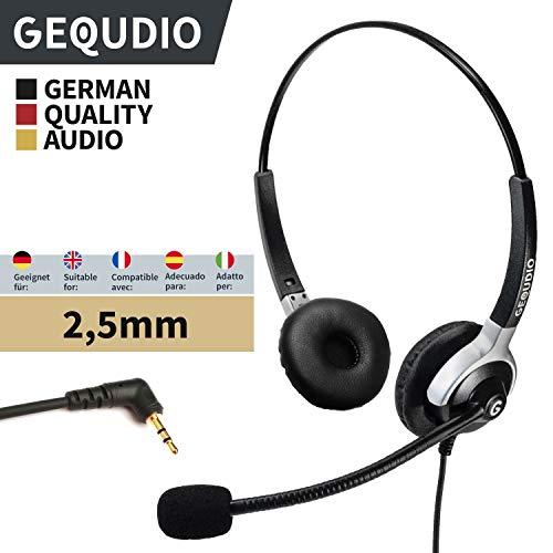 GEQUDIO Headset mit 2,5mm Klinke geeignet für Gigaset ®, Panasonic® Telefone, mit Kabel, 80g leicht