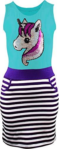 Mädchen Kleid Kinder Sommerkleid WendepaillettenTrägerkleid Tunika Shirt Gr. 116-146 Einhorn Unicorn Pferd (128-134, Türkis)