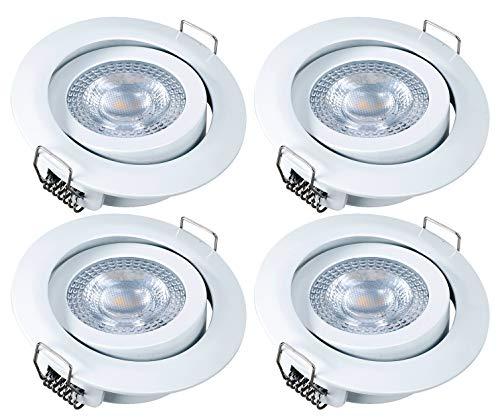 4x Foco LED empotrable luz de techo greenandco® blanco IRC97+ 5W (=28W) 300lm blanco calido, redondo, plano, basculante, sin parpadeo, no regulable, con caja de conexiones