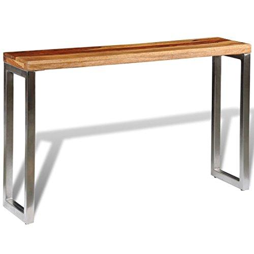 Festnight- Bartisch aus Sheesham-Holz Tischplatte und Stahlbeine   Beistelltisch Konsolentisch Holztisch für Bistro Bar küche, 120 x 35 x 76 cm Handgefertigt