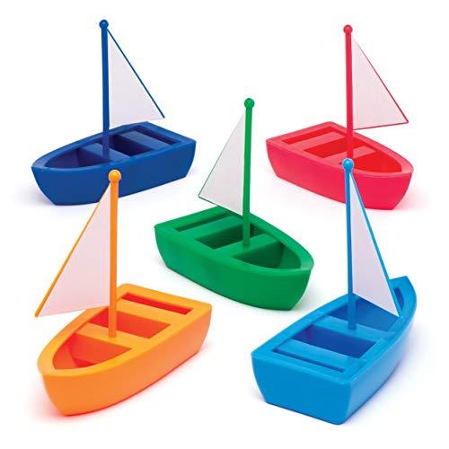 Baker Ross Segelboote aus Kunststoff (6er-Pack) In 5 Rot, Marineblau, Grün, Orange und Hellblau.