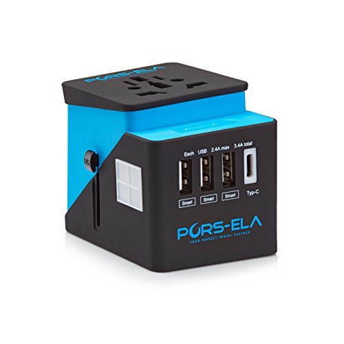 International Travel Power Adapter with 3 USB + Type-C 3.4A Charger &...