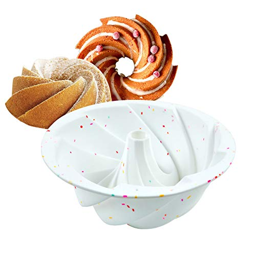 Delidge Silicone Bundt Cake Pan Nonstick Fluted Cake Mold Baking Pan for Cake,Jello,Bread and More Baked Goods,European Grade Silicone Baking Molds