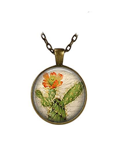 Collar de cactus con colgante de flor de cactus de pera de pera, desierto suroeste