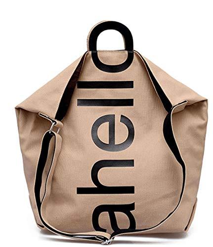 Yazi 2019 Damen Brief Umhängetasche Lässig Wild College Studenten Messenger Bag Versatile Groß Einkaufstasche (Khaki)