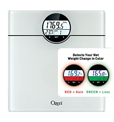 Ozeri WeightMaster (440 lbs / 200 kg) Bath Scale with BMI, BMR and 50 Gram Weight Change Detection, White