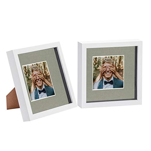 Nicola Spring 2 Piece 8 x 8 3D Shadow Box Photo Frame Set - Craft Display Picture Frame with 4 x 4 Mount - Glass Aperture - White/Grey