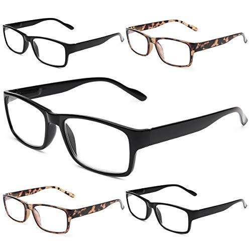 Gaoye - Juego de 5 lentes de lectura con bloqueo de luz azul, lentes de bisagra de resorte para mujeres y hombres, filtro antideslumbrante, lentes livianos