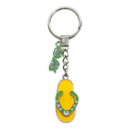 ebos Schlüsselanhänger ✓ aus Metall ✓ Accessoire  fob Key   Sommer   Wasser (Flip-Flop/gelb-grün)