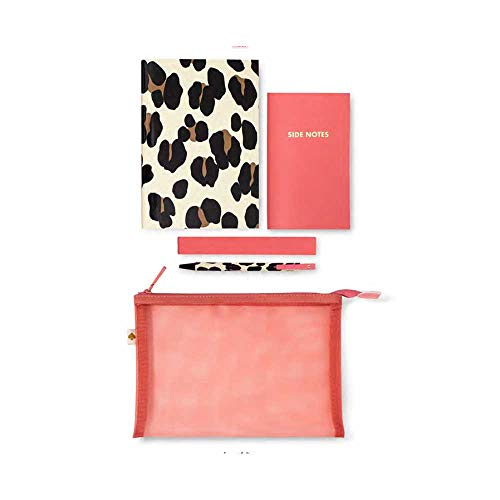 Kate Spade New York Jotter Pouch with Leopard Print Office/School Supplies for Women, Mesh Travel Zip Pouch Includes 2 Notebooks and Ink Pen, Forest Feline