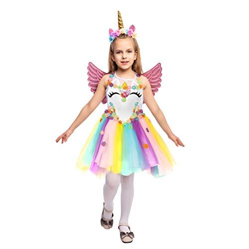 Spooktacular Creations Mädchen Einhorn Prinzessin Kleid mit Stirnband und Flügeln für Kinder, Einhorn Kostüm Tutu Kleid für Karneval Halloween Cosplay Party (Toddler)