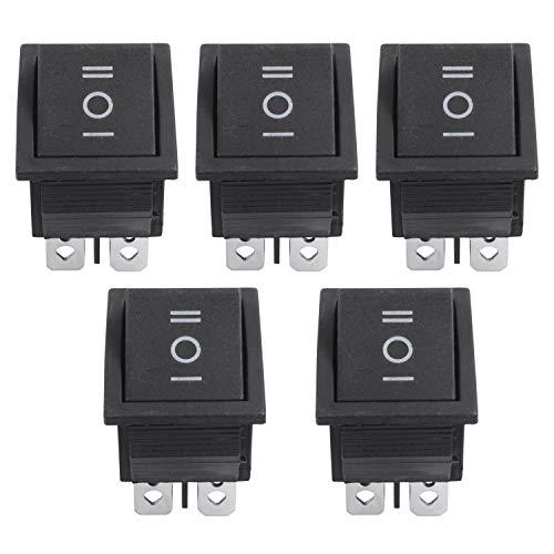 Kaxofang 5 pzs 6 pines DPDT Negro Interruptor basculante de On/Off/On de boton AC 250V/15A 125V/20A