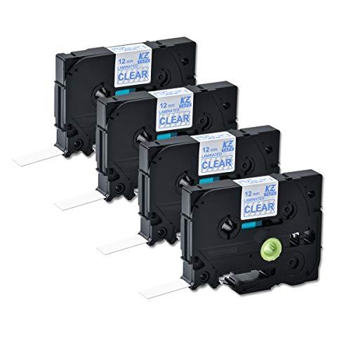 Compatible for Brother Tze133 0.47 Inch 26.2feet (12mm/8m) P Touch Laminated Blue on Clear Standard Replace Waterproof Label Tape Maker PT-H110/PT-D200/PT-D210/PT-D400/PT-D600/PT-1280/PT-1290(4PACK)