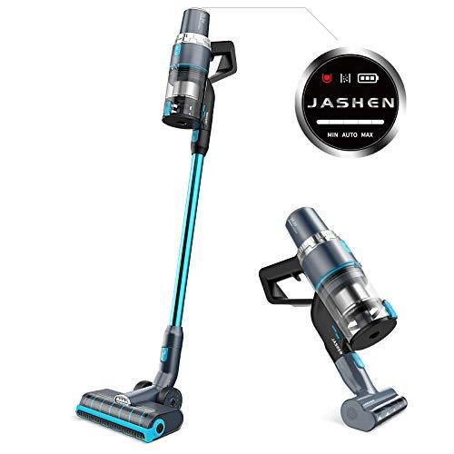 JASHEN Aspirador sin Cable, 350W Motor Digital Brushless 2500mAh Batería Extraíble de Ion-Litio 40 Minutos,LED Pantalla Inteligente, 3 Velocidades (Azúl V18)
