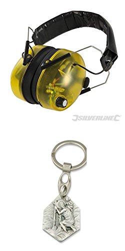 Silverline Kapselgehörschutz, SNR 30 dB, SNR 30 dB, Gehörschutz, Arbeitssicherheit, Arbeitsschutz, Ohrschutz (929977659862) mit Anhänger Hlg. Christophorus