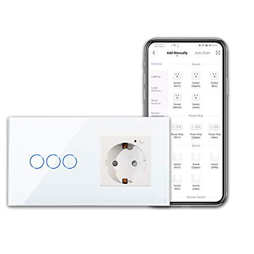 CNBINGO Presa Wi-Fi e interruttore intelligente, interruttore touch a 3 vie e presa Schuko, funzionamento con Alexa/Google Home, Smart Life App – con pannello in vetro – conduttore neutro