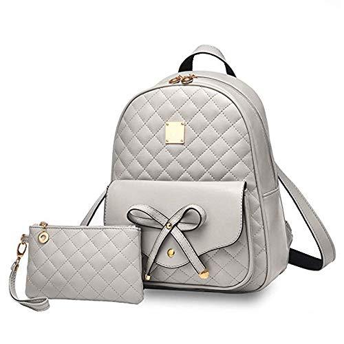 I IHAYNER Rucksack Damen PU Leder Mini Rucksäcke Damen 2 PCS Bowknot Süße Schulrucksack für Mädchen Frauen - Grau