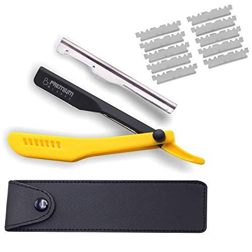 Professional Slide Out Replaceable Blade Straight edge Razor, Yellow Plastic Handle Barber Razor, Straight Razor, Razor for men with Razor Blades by ''Premium Blades''