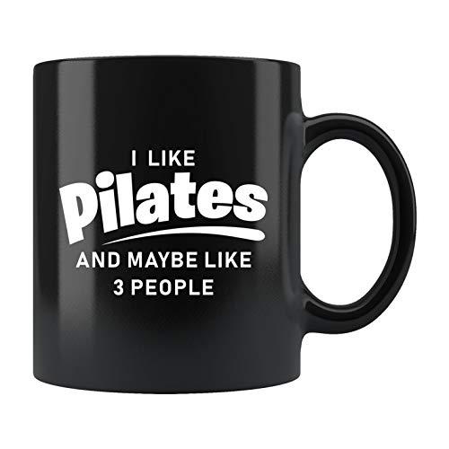 Taza de pilates, regalo de gimnasio, regalo de pilates, regalo para entusiastas de la fitness, taza de cerámica, regalo para instructor de gimnasio, taza con texto en inglés 'I Like Pilats'