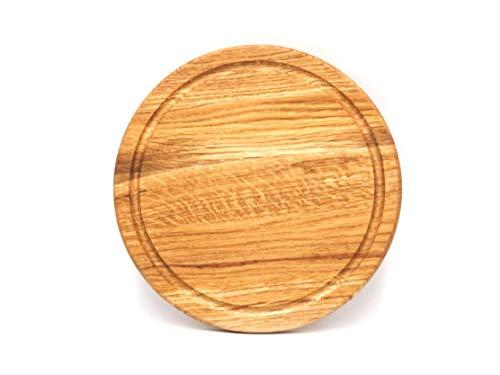 JOWE Rundes Jausenbrett aus Holz   Set mit 4 STK oder 6 STK mit Halterung   Gefertigt in Österreich aus Massivholz  (Eiche, 1 STK)