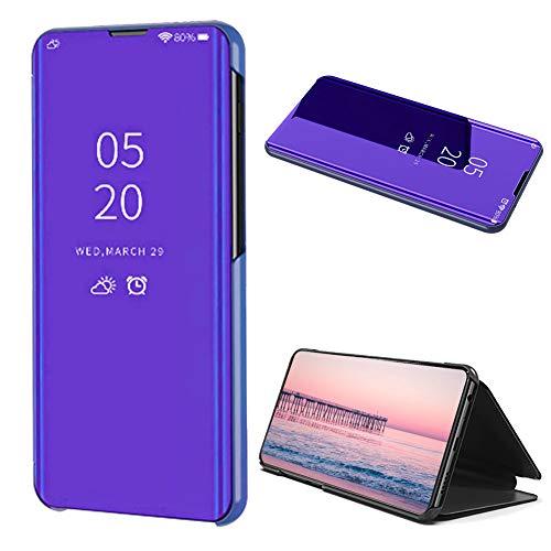 Dunkel Lila Klar Aussicht Fenster Hülle für Samsung Galaxy A40,Mirror Handyhülle für Samsung Galaxy A40,Moiky Luxuriös Edel Spiegel Bewirken Überzogen Metall Clear Ständer Hülle