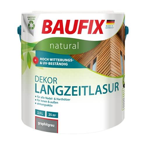 BAUFIX natural Dekor-Langzeitlasur graphitgrau, 2.5 Liter, Öko Holzlasur, atmungsaktive Ökofarbe aus nachhaltiger Produktion für außen-innen, vegan, UV-beständig, für alle Nadel-&harthölzer geeignet