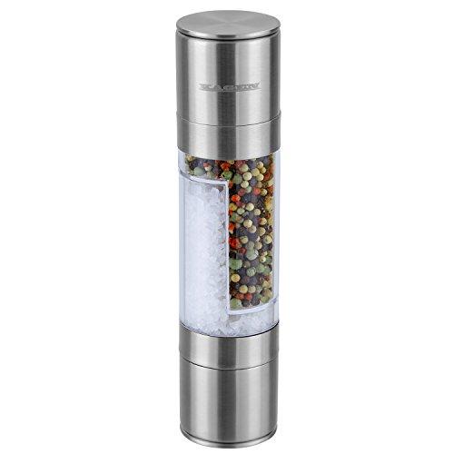 KAGEN Salz- und Pfeffermühle 2in1 aus Edelstahl mit Keramik-Mahlwerk - aus Acrylglas und Edelstahl - unbefüllt, Salzmühle, Pfeffermühle, Kombi-Mühle