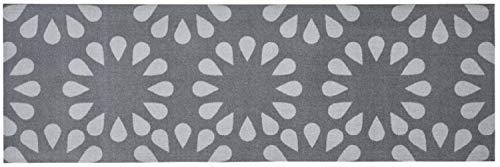 Feuchtalarm - Bavaria Home Style Collection Küchenläufer Küchenteppich Küchen Matte Läufer Teppich Deko waschbar robust modern Größe 150x50 cm 13 Verschiedene Motive und Farben (Bloom Grau)