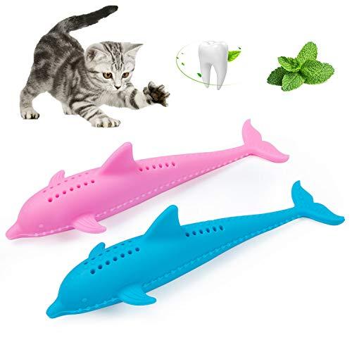 Diealles Shine Katze Fischform Zahnbürste, 2 Stück Katzenminze Spielzeug für Katzen, Kauen Zahnreinigung Spielzeug Umweltfreundlich Silikon Molar-Stick