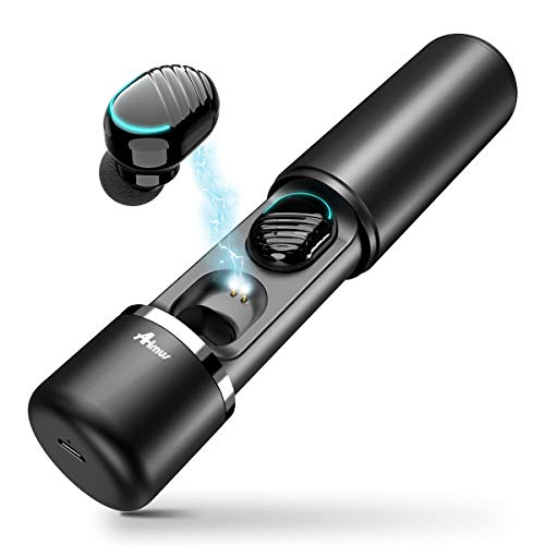 Cuffie Bluetooth 5.0,Aimus Auricolari Bluetooth Senza Fili Hi-Fi Auricolari, Mini Cuffie Wireless in Ear per iPhone e Android Touch Control Palestra Sport Gym con Scatola Ricarica 400mAh(Nero)