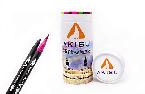 AKISU - Stifte - 36 Stück - Filzstift (1-2 mm) & Fineliner (0,4 mm) in einem - Handlettering Stifte ideal für Anfänger Erwachsene wie Kinder