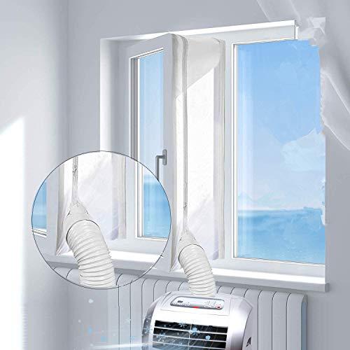 NASUM Fensterabdichtung für Klimagerät Wäschetrockner Ablufttrockner | Türabdichtung Klimaanlage | für jedem Klimagerät und allen Schlauchgrößen - Umlaufmaß bis 3m/4m weiß 3m