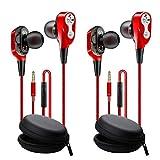 Auriculares con microfono movil Pack 2 uds Deportivos in Ear Dual Dynamic Drivers in-Ear Estereo Auriculares con Cable 120 cms Control de Volumen cancelacion de Ruido Doble Altavoz Rojo