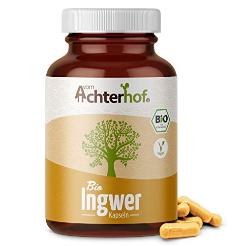 Ingwer Kapseln hochdosiert Bio (160 Stück) direkt vom Achterhof mit 500 mg Ingwerpulver pro Kapsel 100% vegan