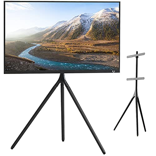 K Knowbody Tripod TV Display Stand, Height Adjustable TV Floor Stand for 45 to 65 inch Flat Panel LED LCD Plasma Screens, Portable Artistic Easel with Swivel(Black)