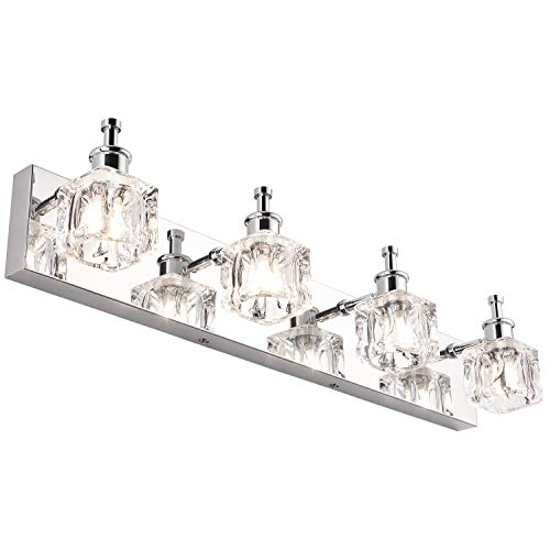 PRESDE Bathroom Vanity Light Fixtures Over Mirror Modern LED 4 Lights Chrome Bath Mirror Lighting