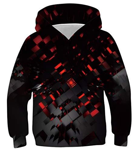 Funnycokid Jungen Pullover Hoodie 3D-Druck Lustige Kinder Hooded Top Sweatshirts mit Tasche Alter 116-125
