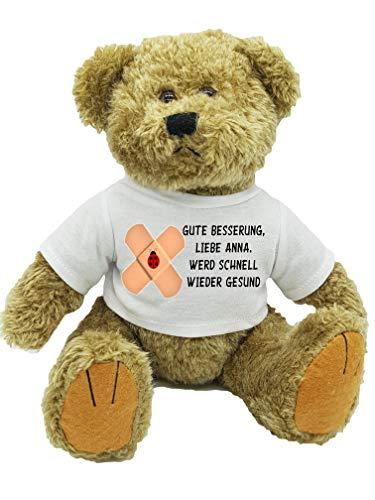 Gute Besserung Kuscheltier Bär Teddy mit Wunschname personalisiert | Flauschiger Tröster für kranke Kinder bei Krankenhausbesuch, Arztbesuch, chronischer Krankheit. Gute Besserung Geschenk Wunschname