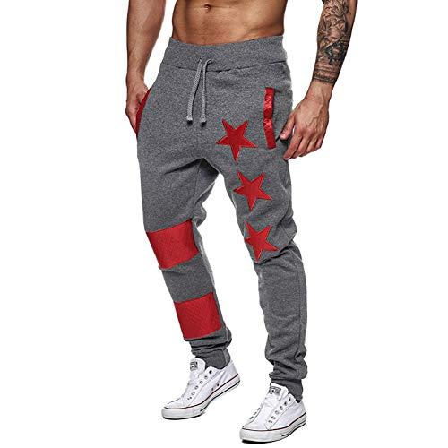 Yundongyi heren hardloopbroek ster bedrukt schudden mannelijke casual patchwork sport joggers voetbal gym broek potlood