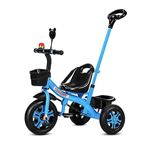 Triciclo Dos En Uno Para Niños De 1 A 6 Años, Bicicleta De Equilibrio Para Bebés, Juguete Para Montar Al Aire Libre Con Varilla De Empuje Desmontable / Mango Trasero Ajustable, Regalo D(Color:azul)