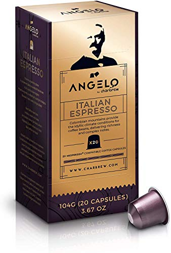 Angelo Italian Espresso Coffee Pods - 120 (6 x 20 Capsules / E.S.E. servings) Nespresso Compatible Koffie Pods van Charbrew